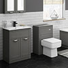 Keswick Grey 620mm Sink Vanity Unit + Toilet Package profile small image view 1