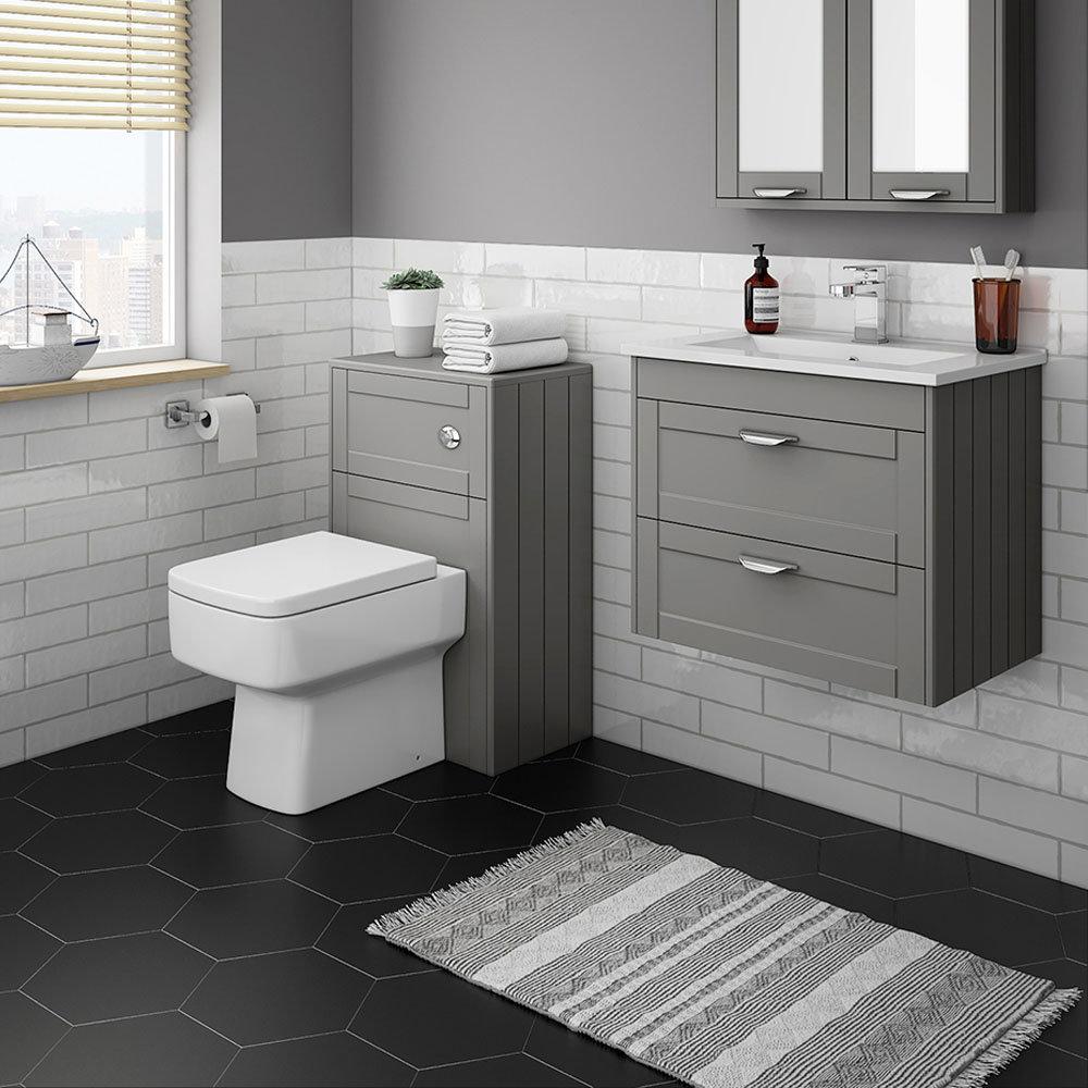 Keswick Grey Wall Hung 2-Drawer Vanity Unit + Toilet Package