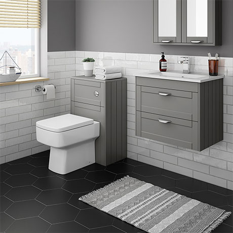 Keswick Grey Wall Hung 2-Drawer Vanity Unit + Toilet Package