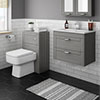 Keswick Grey Wall Hung 2-Drawer Vanity Unit + Toilet Package profile small image view 1