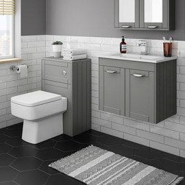 Keswick Grey Wall Hung 2-Door Vanity Unit + Toilet Package