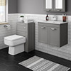 Keswick Grey Wall Hung 2-Door Vanity Unit + Toilet Package profile small image view 1