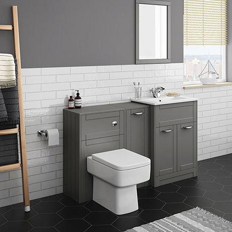 Keswick Grey Sink Vanity Unit, Storage Unit + Toilet Package
