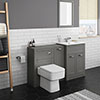 Keswick Grey Sink Vanity Unit, Storage Unit + Toilet Package profile small image view 1