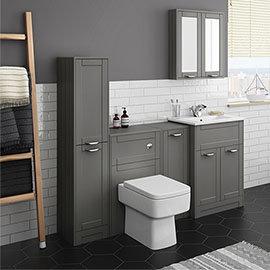 Keswick Grey Sink Vanity Unit, Storage Unit, Tall Boy + Toilet Package