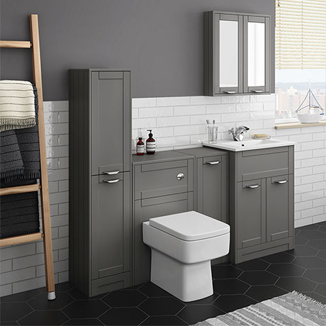 Keswick Grey Sink Vanity Unit, Storage Unit, Tall Boy + Toilet Package
