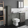 Keswick Grey Sink Vanity Unit, Storage Unit, Tall Boy + Toilet Package profile small image view 1