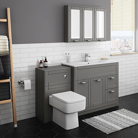 Keswick Grey 1015mm Sink Vanity Unit + Toilet Package