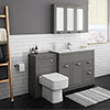 Keswick Grey 1015mm Sink Vanity Unit + Toilet Package profile small image view 1