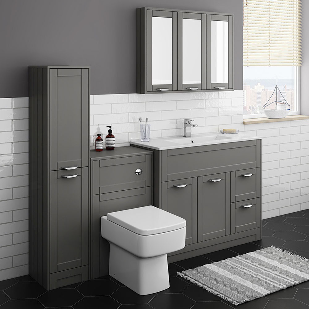 Keswick Grey 1015mm Sink Vanity Unit, Tall Boy + Toilet Package