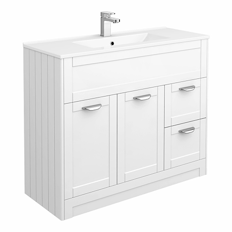 Keswick White 1015mm Traditional Floorstanding Vanity Unit