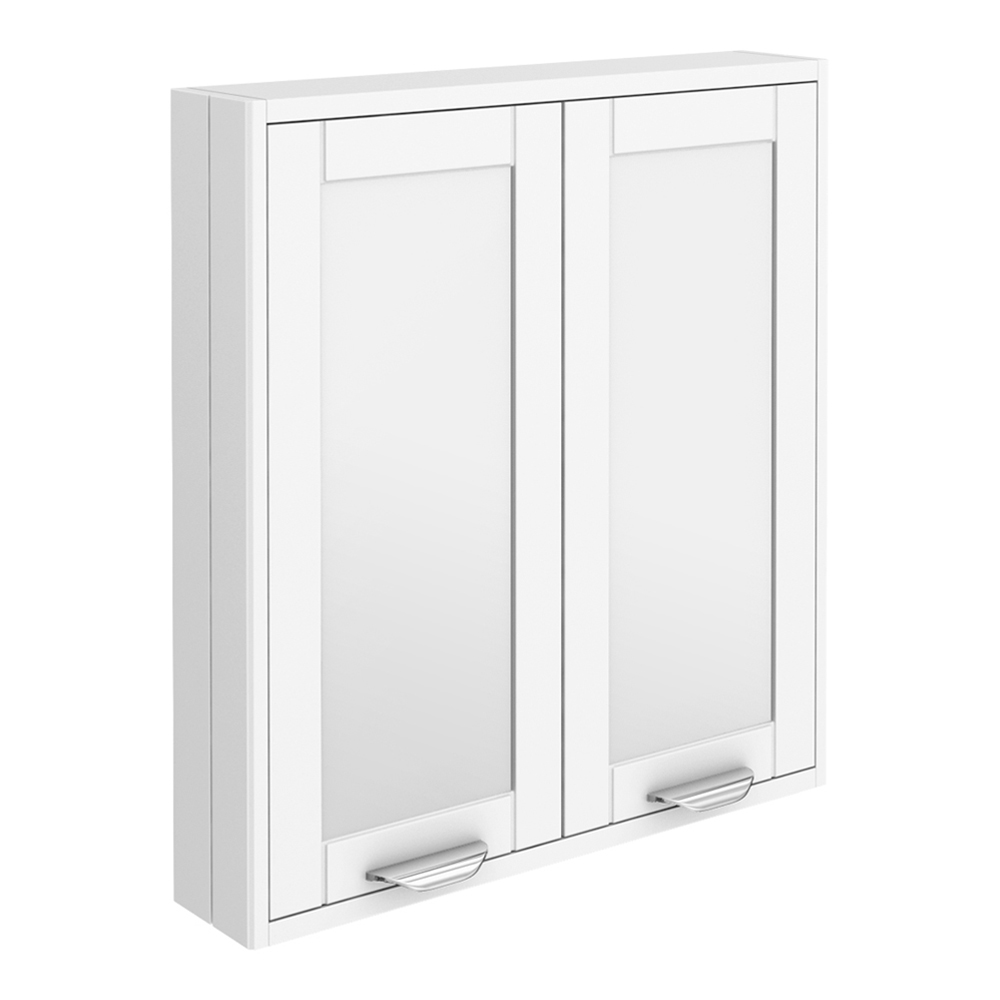 Keswick White 600mm Traditional Wall Hung 2 Door Mirror Cabinet