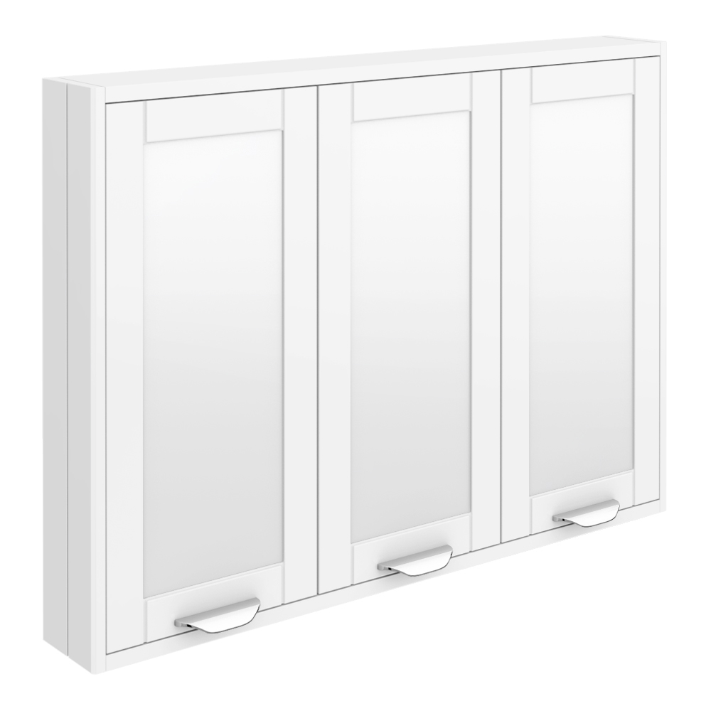Keswick White 900mm Traditional Wall Hung 3 Door Mirror Cabinet