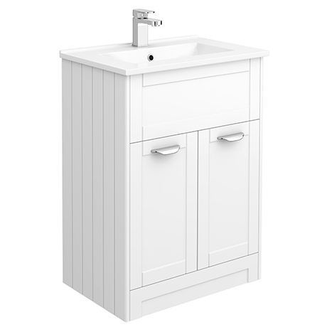 Keswick White 620mm Traditional Floorstanding Vanity Unit