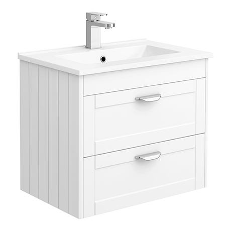Keswick White 620mm Traditional Wall Hung 2 Drawer Vanity Unit