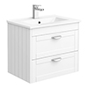 Keswick White 620mm Traditional Wall Hung 2 Drawer Vanity Unit profile small image view 1