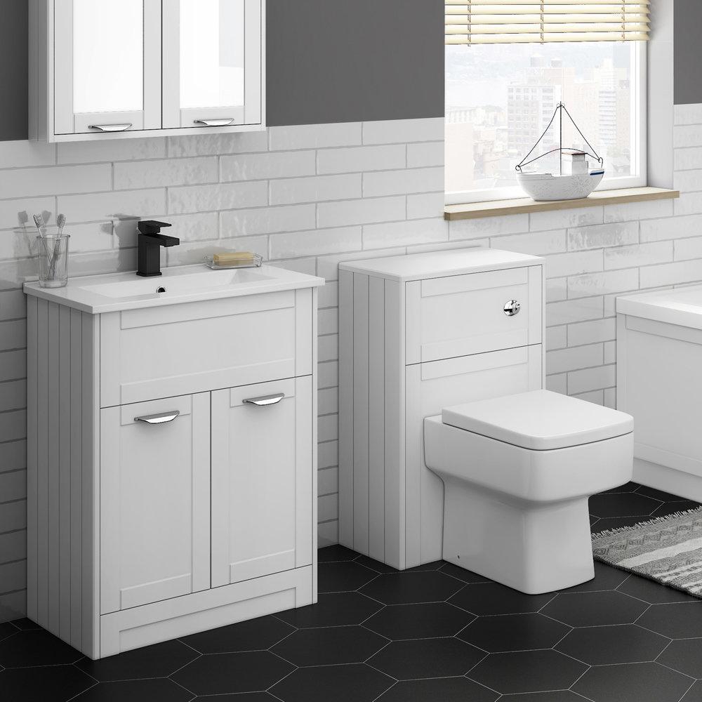 Keswick White 620mm Sink Vanity Unit + Toilet Package