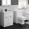 Keswick White 620mm Sink Vanity Unit + Toilet Package profile small image view 1