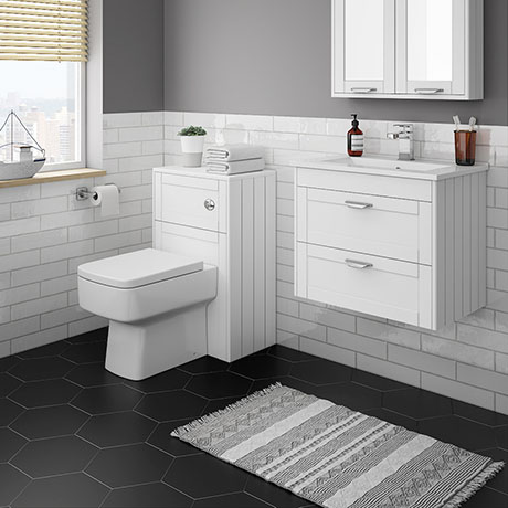 Keswick White Wall Hung 2-Drawer Vanity Unit + Toilet Package