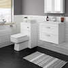 Keswick White Wall Hung 2-Drawer Vanity Unit + Toilet Package profile small image view 1