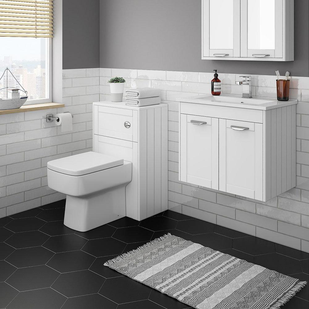 Keswick White Wall Hung 2-Door Vanity Unit + Toilet Package