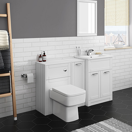 Keswick White Sink Vanity Unit, Storage Unit + Toilet Package