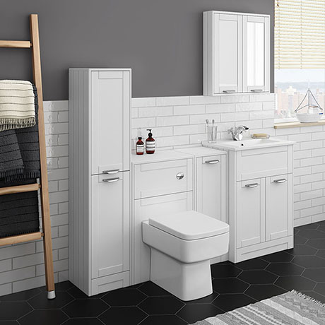 Keswick White Sink Vanity Unit, Storage Unit, Tall Boy + Toilet Package