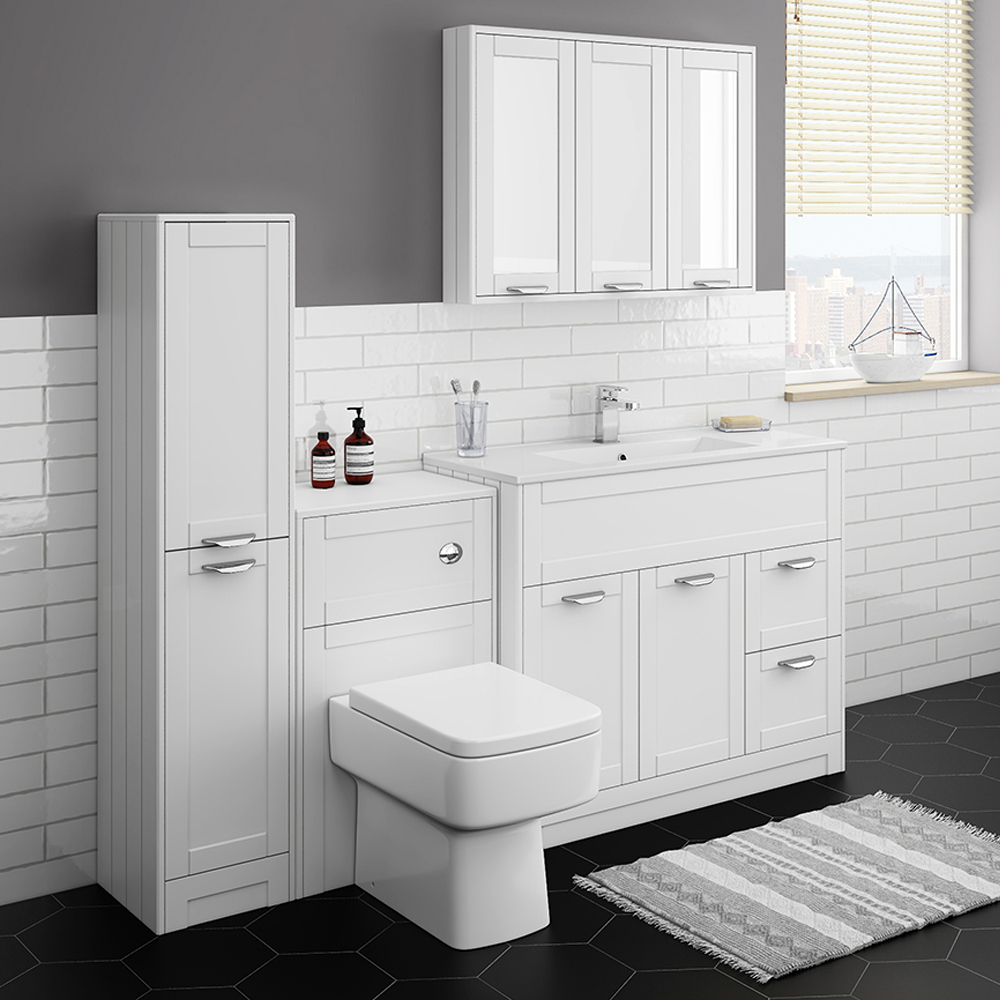 Keswick White 1015mm Sink Vanity Unit, Tall Boy + Toilet Package