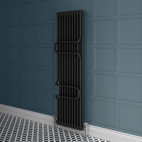 Keswick 1800 x 460 Cast Iron Style Traditional 2 Column Anthracite Radiator with Twin Towel Rails