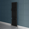 Keswick 1800 x 460 Cast Iron Style Traditional 2 Column Anthracite Radiator with Twin Towel Rails profile small image view 1