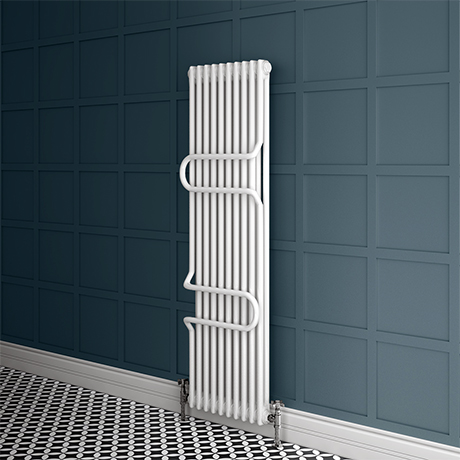 Keswick 1800 x 460 Cast Iron Style Traditional 2 Column White Radiator with Twin Towel Rails