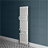 Keswick 1800 x 460 Cast Iron Style Traditional 2 Column White Radiator with Twin Towel Rails profile small image view 1