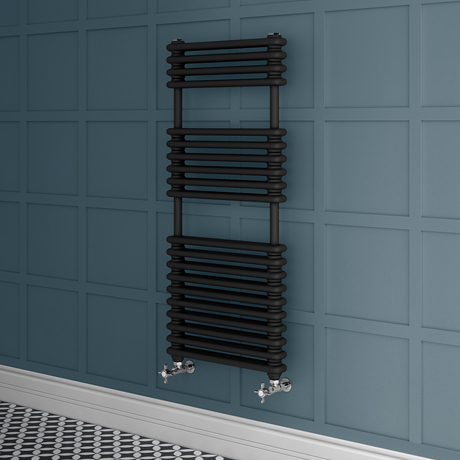 Keswick 500 x 1140 Cast Iron Style Traditional 2 Column Anthracite Towel Rail