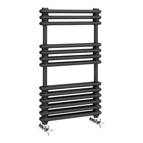Keswick 500 x 832 Cast Iron Style Traditional Anthracite Towel Rail