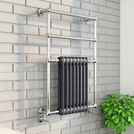 Keswick Anthracite Traditional Wall Hung Towel Rail Radiator (825 x 673mm)