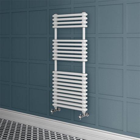 Keswick 500 x 1140 Cast Iron Style Traditional White Towel Rail