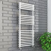 Keswick 500 x 1140 Cast Iron Style Traditional White Towel Rail profile small image view 1