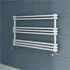 Keswick 1000 x 612 Cast Iron Style Traditional White Towel Rail profile small image view 1