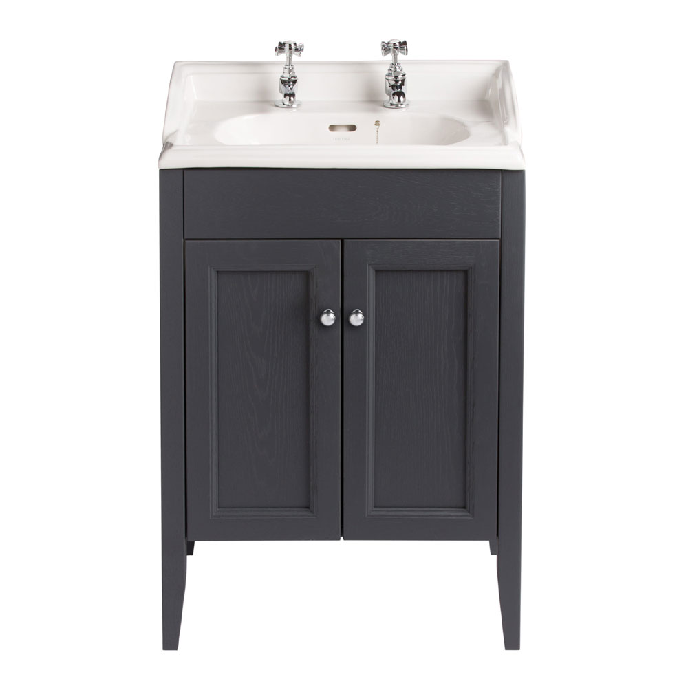 Heritage - Caversham Freestanding Dorchester Square Vanity Unit with Chrome Handles & Basin - Graphite Large Image
