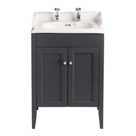 Heritage - Caversham Freestanding Dorchester Square Vanity Unit with Chrome Handles & Basin - Graphi