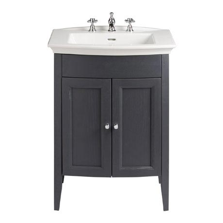 Heritage - Caversham Freestanding Blenheim Vanity Unit with Chrome Handles & 3TH Basin - Graphite