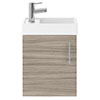 Milan W400 x D222mm Driftwood Effect Compact Wall Hung Basin Unit profile small image view 1