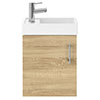 Milan W400 x D222mm Natural Oak Effect Compact Wall Hung Basin Unit profile small image view 1