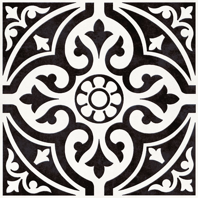 Kingsbridge Black Patterned Floor Tiles - 331 x 331mm  Profile Large Image
