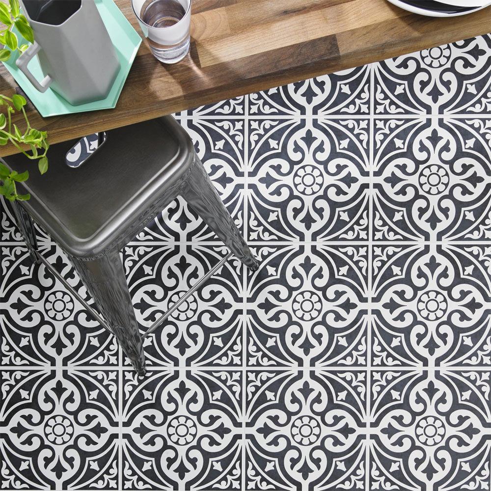 Kingsbridge Black Patterned Floor Tiles - 331 x 331mm Large Image