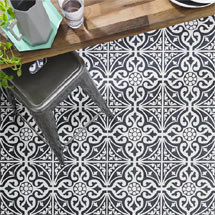 Kingsbridge Black Patterned Floor Tiles - 331 x 331mm Medium Image