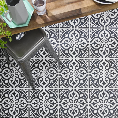 Kingsbridge Black Patterned Floor Tiles - 331 x 331mm