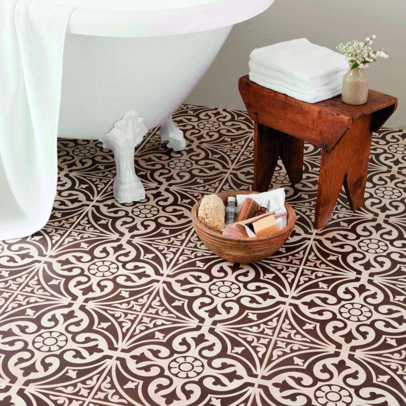 Kingsbridge Brown Patterned Floor Tiles - 331 x 331mm Large Image