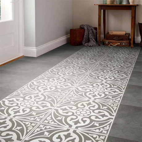 Kingsbridge Grey Patterned Floor Tiles - 331 x 331mm