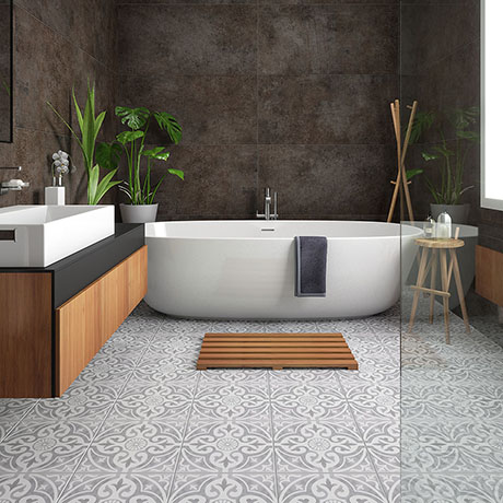 Kingsbridge Silver Patterned Wall and Floor Tiles - 330 x 330mm
